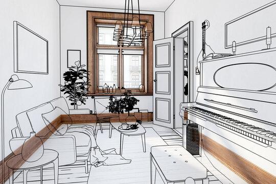 Modern Sitting Room Inside a Fresh Renovated Building (illustration) - 3d visualization