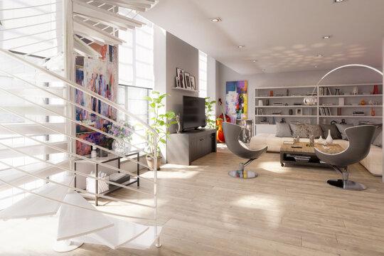 Modern Residential Loft Interior Design - 3d visualization