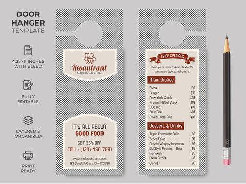 Food Restuarant Door Hanger, Vector illustration, modern Door hanger, do not disturb and make up room sign Premium Vector, Door hanger design template