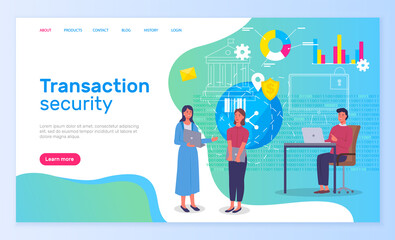 Wall Mural - Transaction security, people working in bank, new technologies protect finance, modern app, people communicating, discussing protection, tech support of service, safety of payment in global network