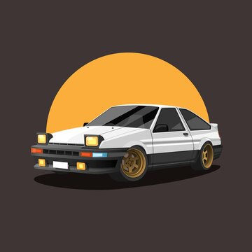 Retro car on sunset. drift race car concept in cartoon illustration vector