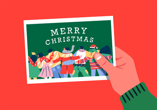 Merry Christmas card hand holding friend photo