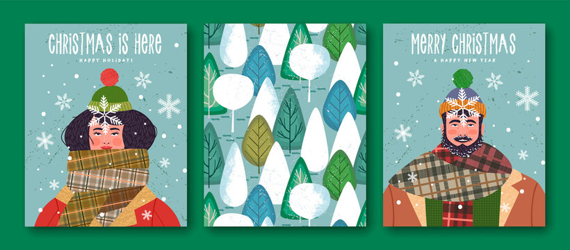 Merry Christmas New Year winter scarf people cards