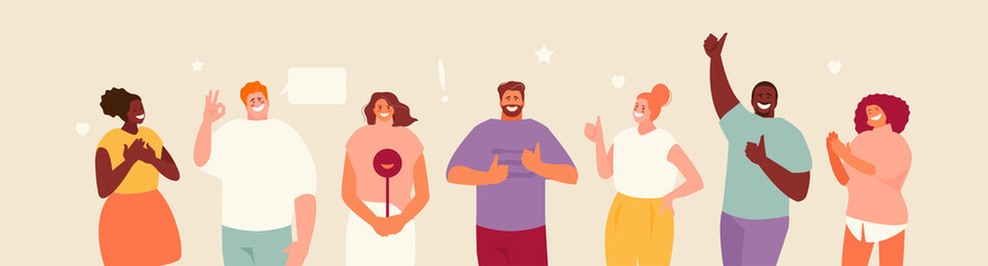 Fototapeta Smiling group people with approving like gestures. Positive feedback vector illustration