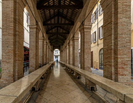 The interior of the old fish market in the historic center of Rimini, Italy