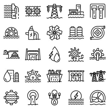 Hydro power icons set. Outline set of hydro power vector icons for web design isolated on white background
