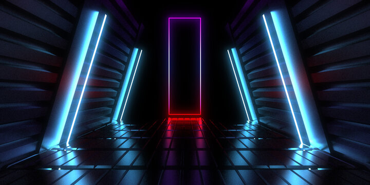3D abstract background with neon lights. neon tunnel .space construction . 3d illustration