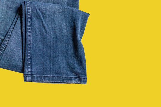 blue jeans with yellow label