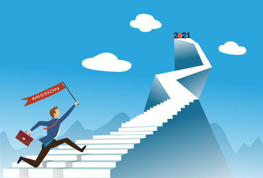 Businessman running with mission up stairway to the top of mountain with 2021 number. , Business concept growth and the path to success