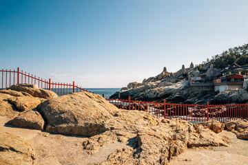 Haedong Yonggungsa Temple with blue ocean in Busan, Korea Wall mural
