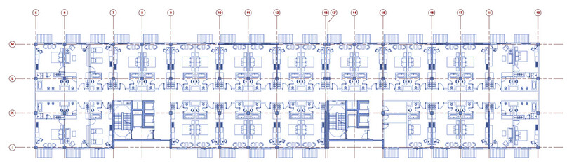 Fototapeta Architectural plan drawing of a linear hotel. Drawing in blue lines with red axes in white background.