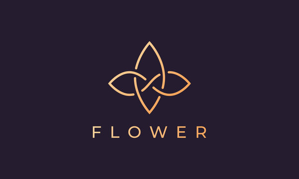 Beauty and feminine simple flower logo in gold with luxury line art style