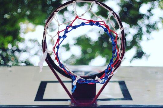 Directly Below Shot Of Basketball Hoop