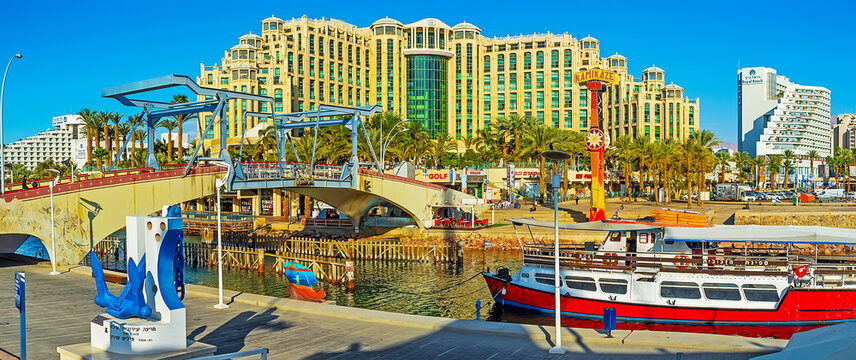 Panorama of the Eilat center with luxury hotels and a drawbridge, on Feb 23, 2016 in Eilat, Israel