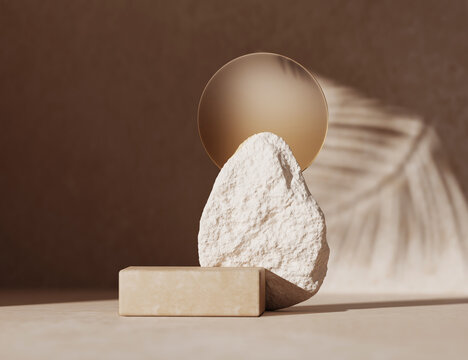 3D podium display on beige background with stone and glass. Brown cosmetic, beauty product promotion rock pedestal with palm leaf shadow.  Natural, exotic  showcase. Abstract minimal studio 3D render