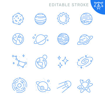 Space and planets related icons. Editable stroke. Thin vector icon set