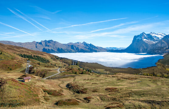 Landscape of mountains and  clouds above Grindelwald, Switzerland.
