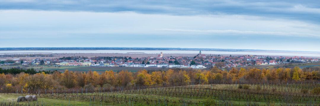 rust in burgenland panoramic view in autumn