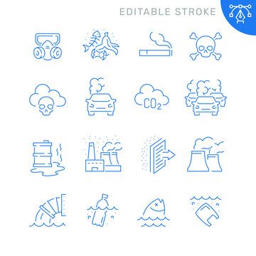 Pollution related icons. Editable stroke. Thin vector icon set