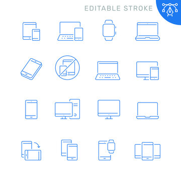 Mobile devices related icons. Editable stroke. Thin vector icon set