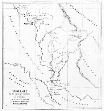 Old map of Eugene Flandin itinerary, from Kurdistan to Babylon. Engraved by Ehrard and Bonaparte, published on Le Tour du Monde, Paris, 1861