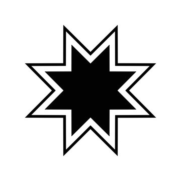 star of 8 points silhouette style icon vector design