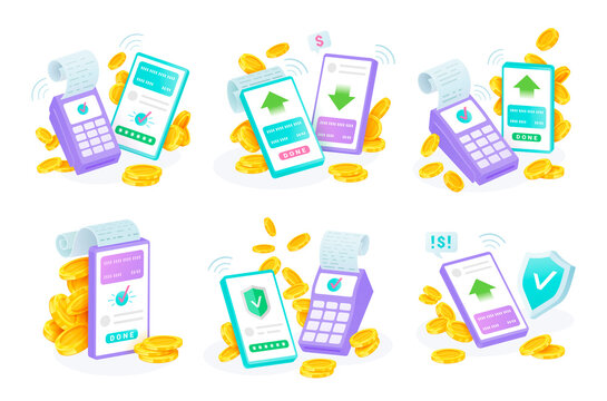Contactless payments set. Mobile transfers, financial transactions. Online checkout, POS terminal.