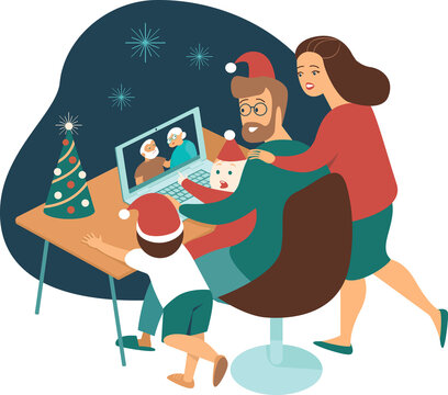 Young family with kids making a distant call to elderly parents on internet during quarantine onChristmas eve. Flat vector illustration for covid-19 pandemic.