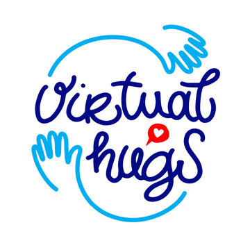 Virtual hugs line icon, calligraphy with hands. isolated on white background. Hugging phrase, social media. Virus-free virtual hugs, social distance.