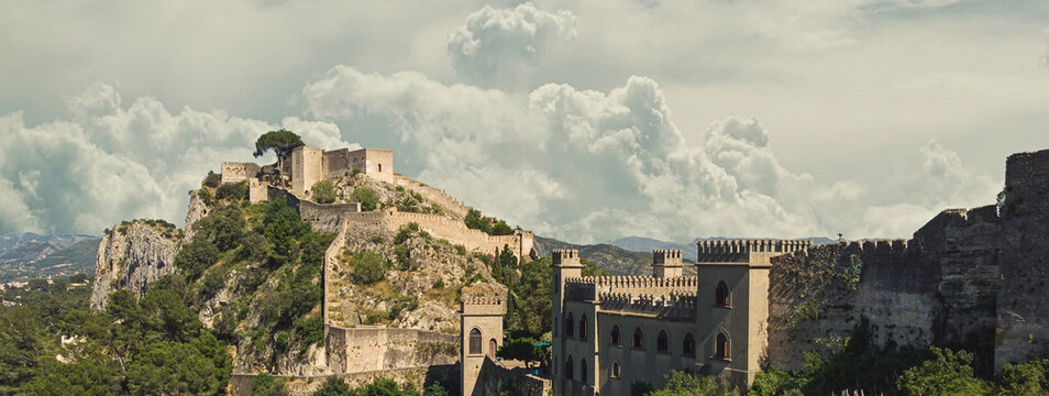 Aerial image picturesque view to ancient castle of Xativa. Spain