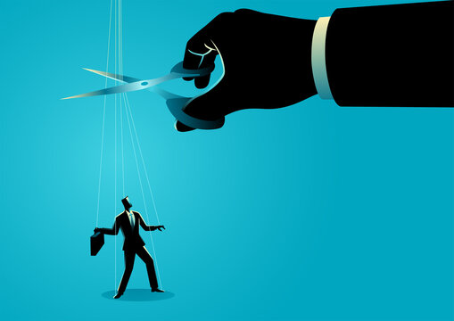 Scissors cutting the strings attached to businessman