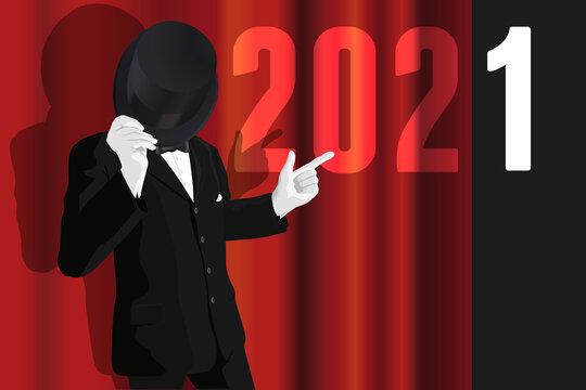 Carte de vœux 2021 avec un homme en costume qui présente la nouvelle année en ouvrant le rideau rouge sur une scène de spectacle.