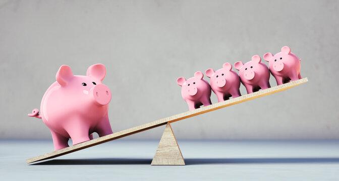 Pink piggy banks balancing on seesaw