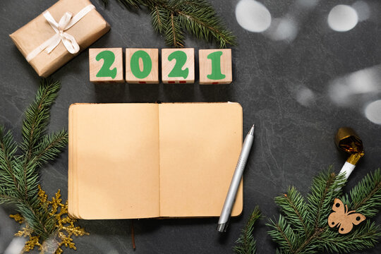 plans and goals list in notebook for New Year 2021