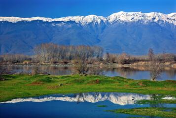 Snow capped Beles mountain, reflected on the surface ol lake Kerkini, Serres, Macedonia, Greece.