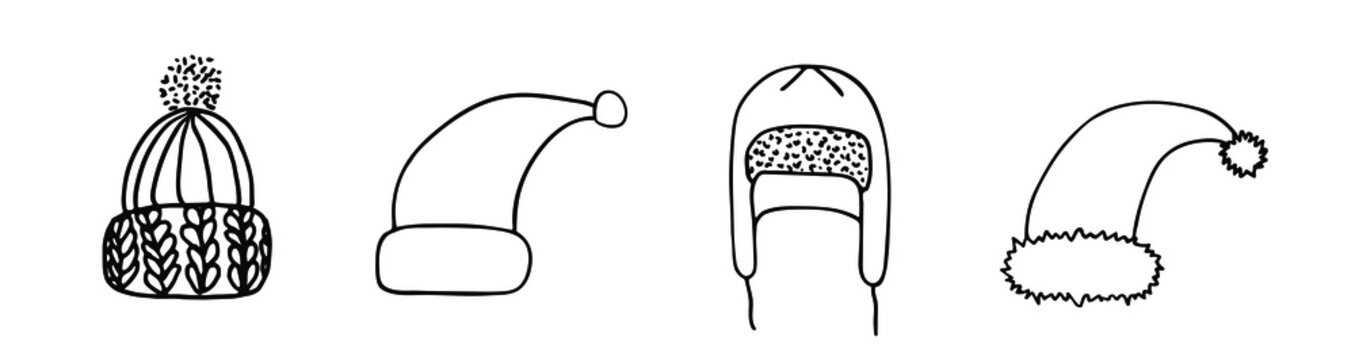 Winter hats hand drawn illustration. Headwear set. Knitted and Santa hat. Cold weather head protection.