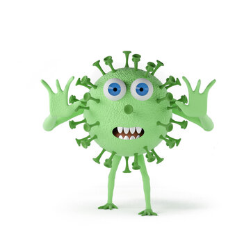 Scaring coronavirus - 3d rendered character isolated