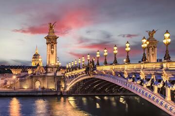 Fototapete - Alexandre III bridge in Paris at sunset