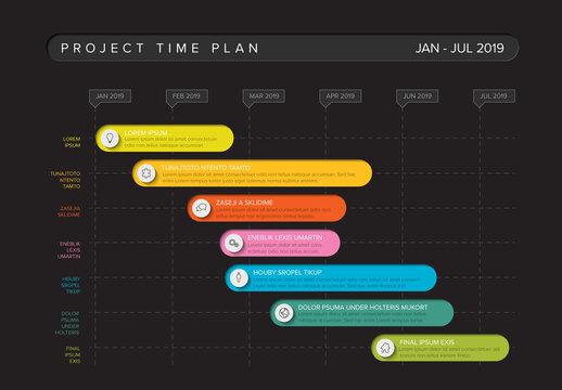 Gantt Project Production Timeline Graph Dark