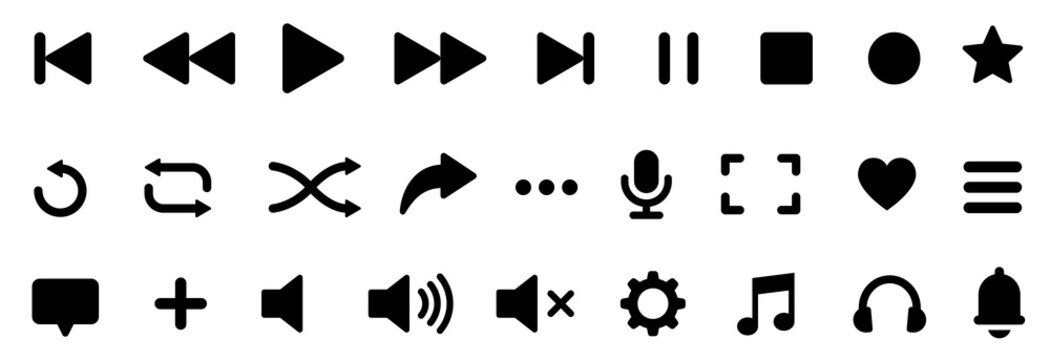 Media player icons set. Button collection. Music, sound, interface, play, microphone, arrow, setting.
