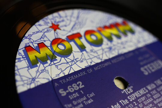Viersen, Germany - May 9. 2020: Close up of isolated vinyl record album  with logo lettering from Tamla Motwon soul music label