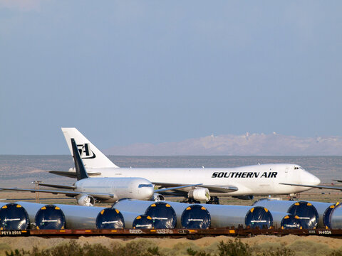 Southern Air and other commercial airliners planes parked in the Desert