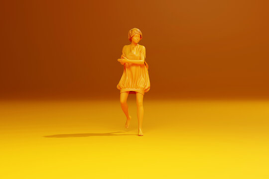 3D Illustration of a monochromatic happy clapping girl
