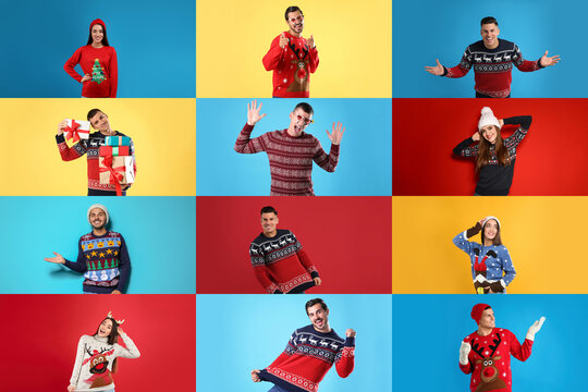 Collage with photos of women and men in different Christmas sweaters on color backgrounds