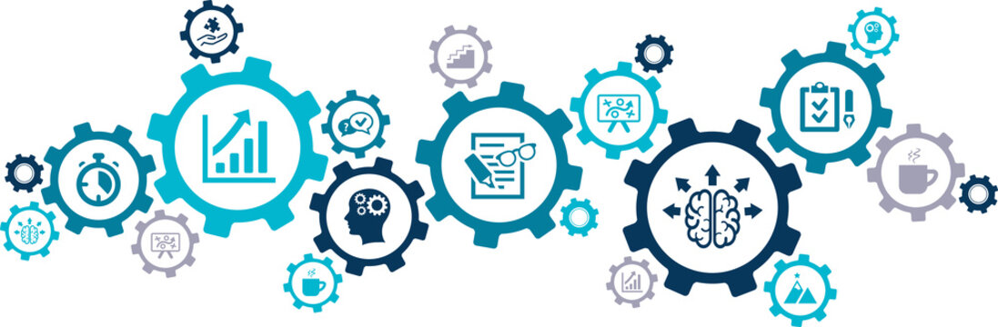 productivity vector illustration. Concept with connected icons related to efficiency, work and workflow improvement or optimization, increase in output or getting things done.