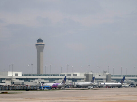United Airlines Planes parked at Denver International Airport
