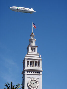 23andMe.com Ad on blimp above the Ferry Building Clock Tower
