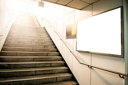 Empty Blank Billboard At Subway