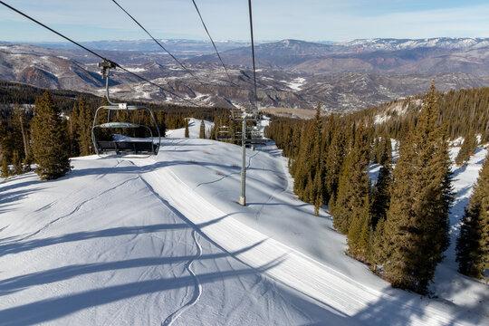 Winter mountain panorama with ski slopes, Colorado, Snowmass