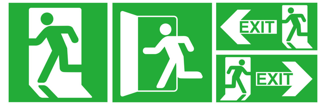 emergency exit sign icon vector